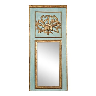19th Century Louis XVI Period Painted and Parcel-Gilt Marriage Trumeau Mirror For Sale