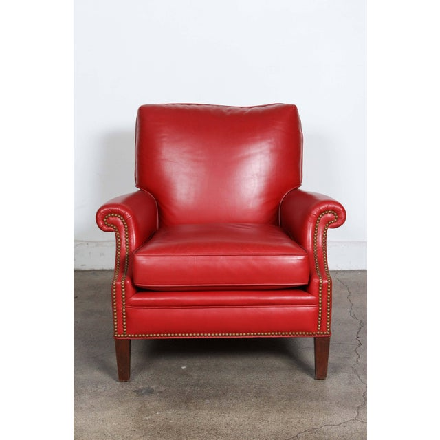 French Pair of Red Leather French Club Armchairs For Sale - Image 3 of 12
