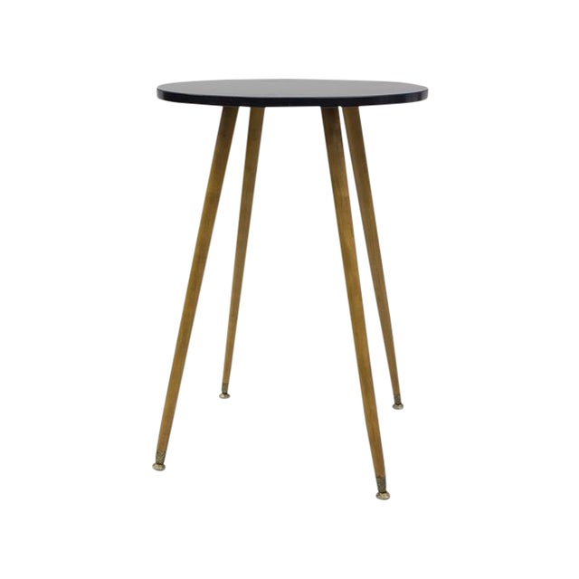 Mid-century Black Laminate & Tall Wood Side Table - Image 1 of 4