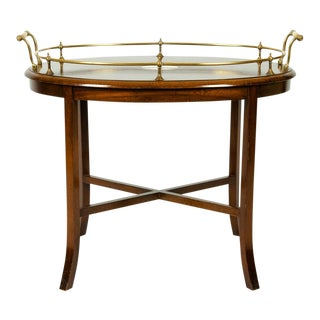 Vintage Mahogany Brass Gallery Tray Top Oval Table For Sale