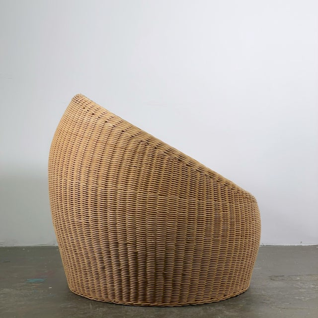Mid-Century Modern Rattan Ball Chair Attributed to Isamu Kenmochi for Yamakawa Rattan For Sale - Image 3 of 5