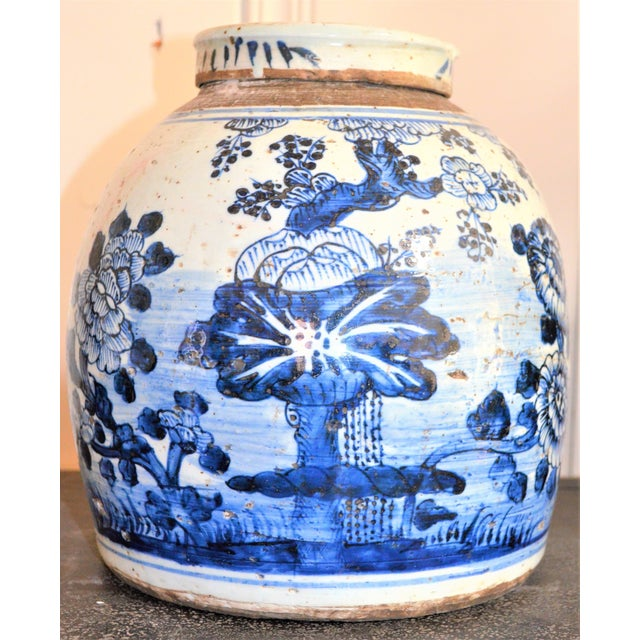 Ceramic Chinoiserie White & Blue Floral Ginger Jar For Sale - Image 7 of 7