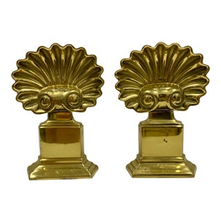 Pair of Hollywood Regency Brass Shell Andirons For Sale