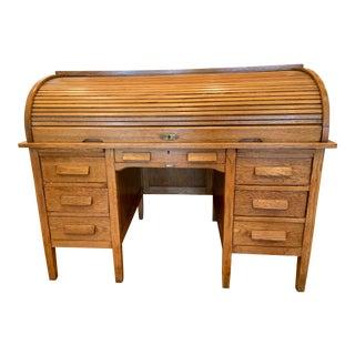 20th Century Traditional Oak C-Rolltop ShawWalker Desk For Sale