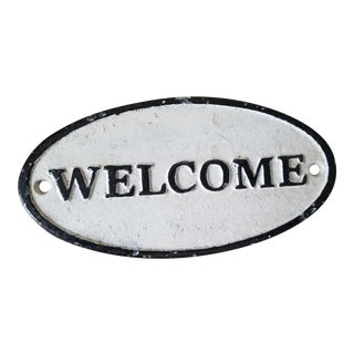1990s Ast Iron Welcome Sign For Sale
