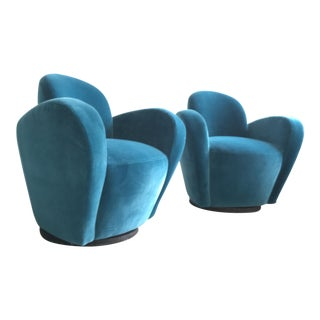 Vladimir Kagan Blue Velvet Wrap Around Swivel Chairs, a Pair