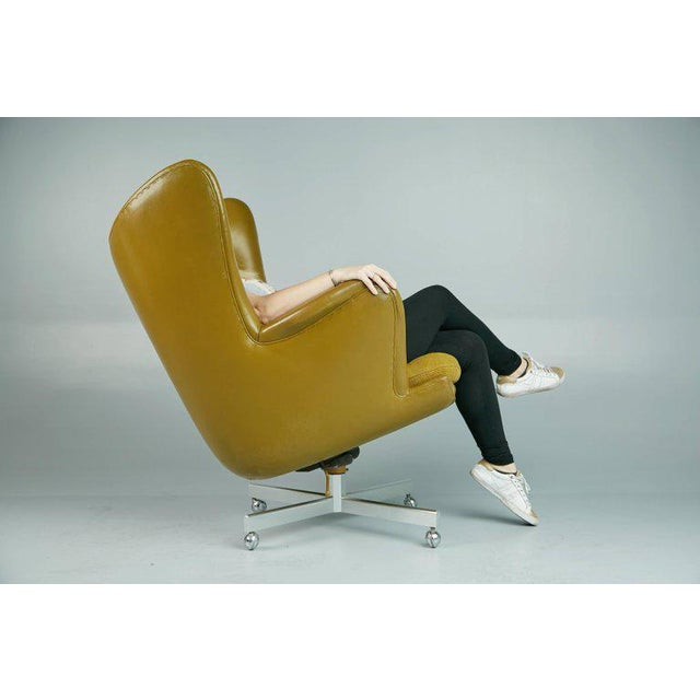 Metal Executive Wingback Chair and Ottoman by George Kasparian, Circa 1960 For Sale - Image 7 of 11