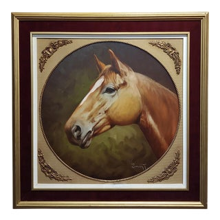 1970s Americana Marco Antonio Zepeda Oil Painting - Portrait of a Thoroughbred Horse For Sale