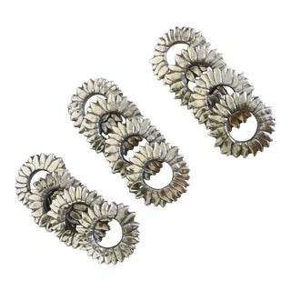Pewter Sunflower Napkin Rings - Set of Four (4)