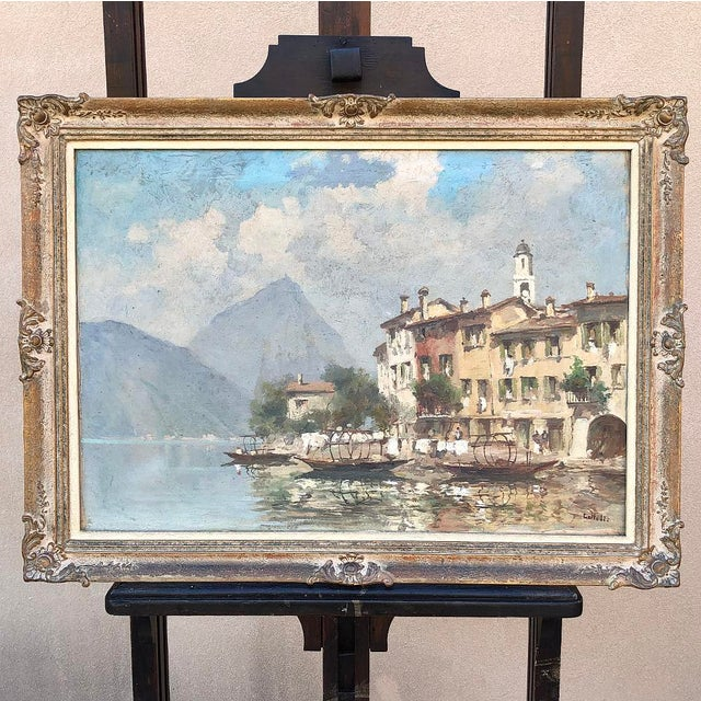 Antique Framed Oil Painting on Canvas For Sale - Image 4 of 12