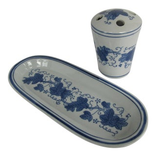 Blue & White Chinoiserie Bathroom Tray - a Pair For Sale