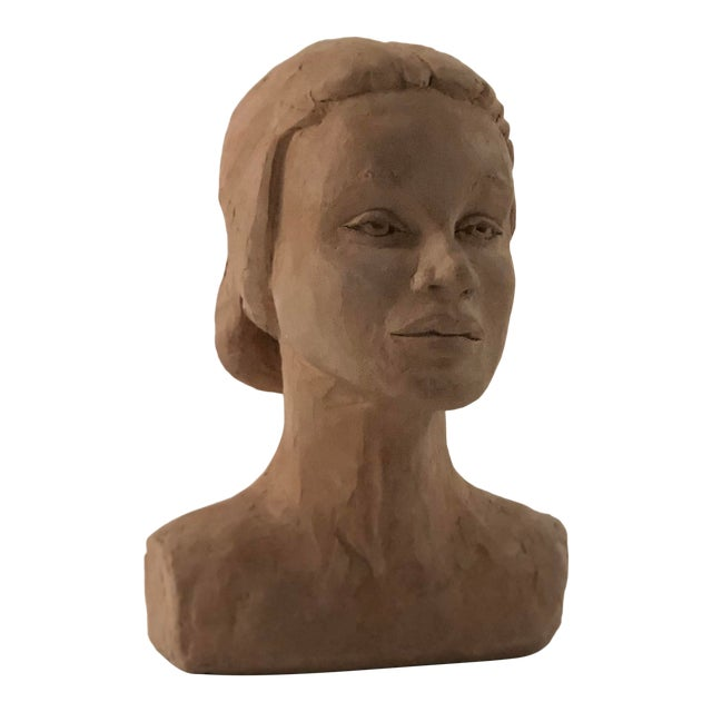 Mid Century Clay Bust For Sale