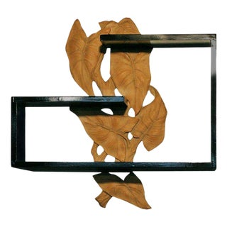 Mid-Century Wall Shelf with Hand-Carved Leaf For Sale