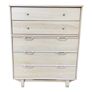 1960s Mid-Century Blonde High-Boy Dresser For Sale