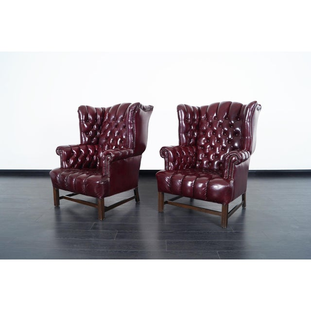 Vintage Leather Tufted Wingback Chairs For Sale - Image 4 of 9