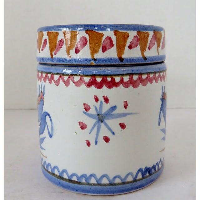 Italian Handpainted Italian Ceramic Container For Sale - Image 3 of 8
