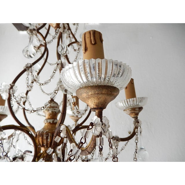1920s French Baroque Crystal Prisms Swags Old Chandelier For Sale - Image 5 of 11