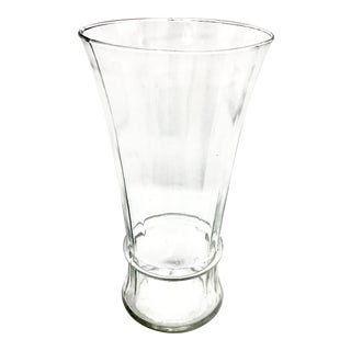 Extra Thin Antique Mouth Blown Optic Panel Glass Vase