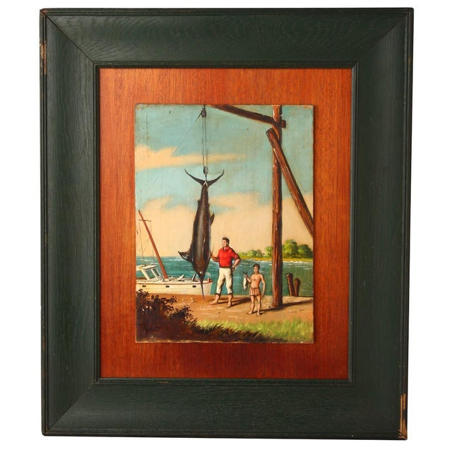 """Nautical """"Great Catch"""" Oil Painting on Board by Melvin O. Miller 1937 For Sale - Image 3 of 4"""