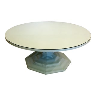 Robin's Egg Lacquered Pedestal Coffee Table For Sale