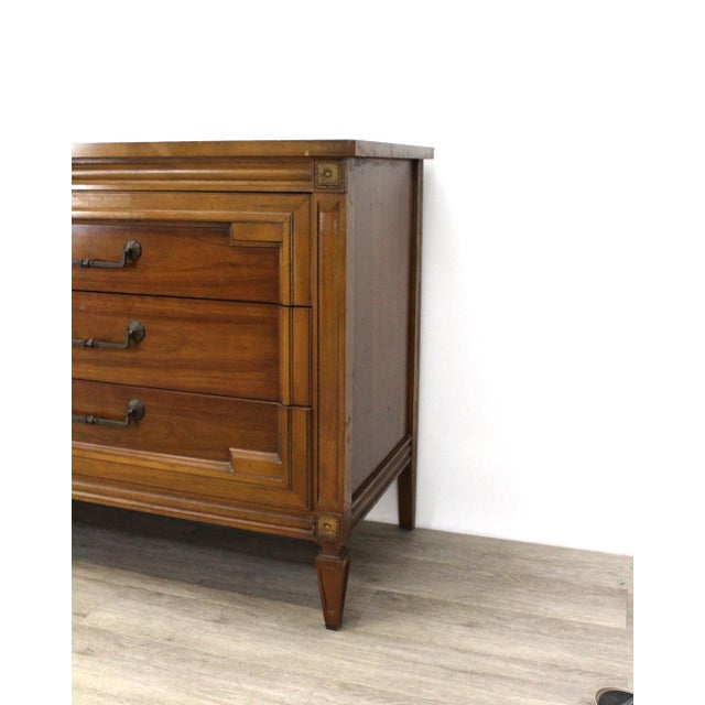 1960s Mid-Century Modern Walnut Six Dresser With Brass Hardware For Sale - Image 5 of 12