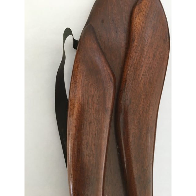 Mid-Century Wood & Brass Wall Cats - A Pair - Image 6 of 10