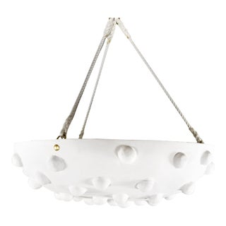 Custom Mid-Century Style Pendant Plaster Chandelier For Sale