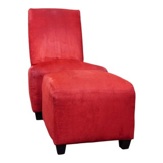 Contemporary Modern Lipstick Red Armless Chair and Ottoman For Sale