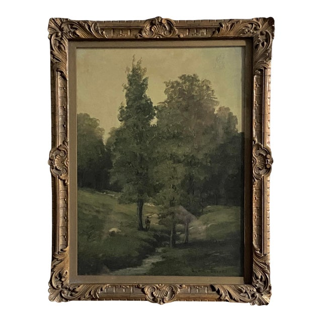 Late 19th Century Landscape Oil Painting by George A. Traver, Framed For Sale
