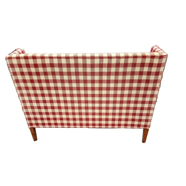 1990s Vintage Wingback Red Gingham Check Love Seat by Hickory Tavern a Division of Lane Furniture For Sale - Image 5 of 7