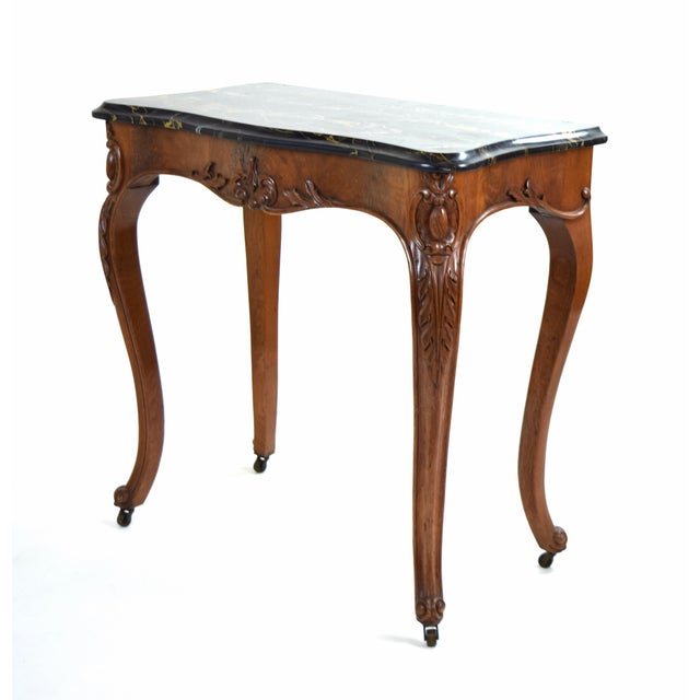 Late 19th Century Antique French Louis XV Heavily Carved Marble Top Hall Console Table Cabriolet Legs For Sale - Image 5 of 12
