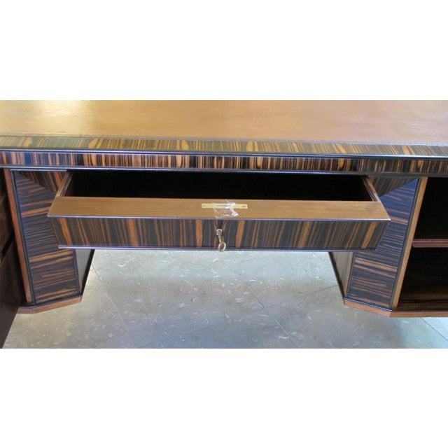 Wood A Handsome and Boldly-Scaled French Art Deco Macassar-Veneered Pedestal Desk For Sale - Image 7 of 8