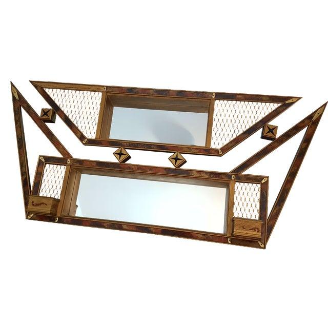 1950s Boomerang Mirror Shadowbox Shelf For Sale