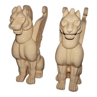 1940s Vintage Venetian Winged Lion Statues- A Pair For Sale