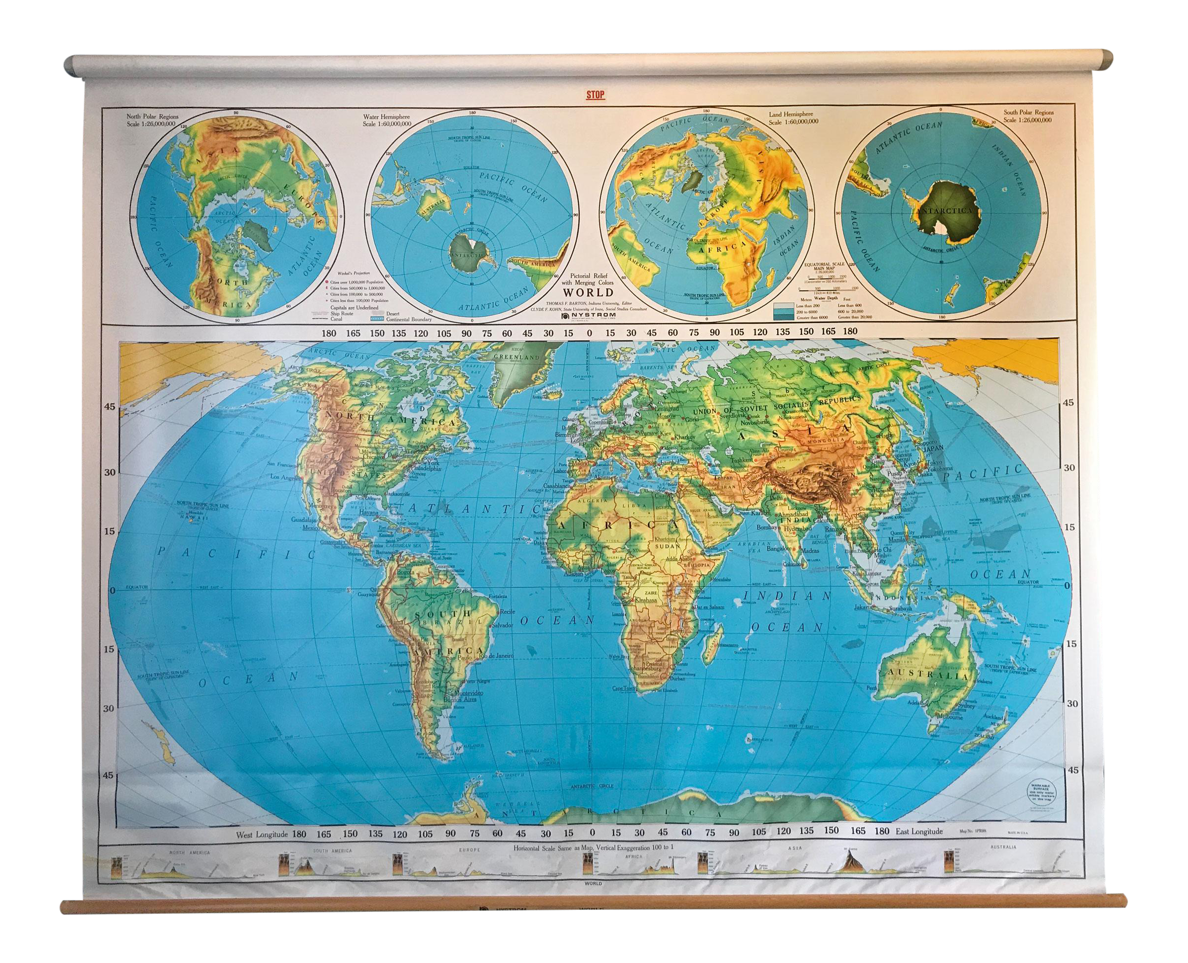 Frameable World Map.Vintage Used Blue Maps Chairish