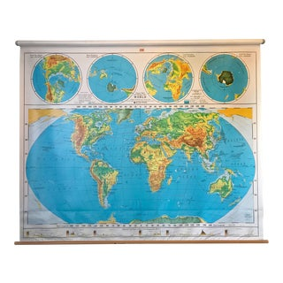 Vintage Nystrom Pull Down Schoolroom World Map For Sale