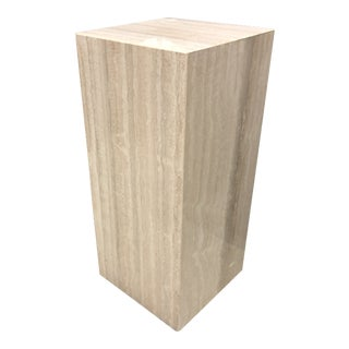 1970s Mid-Century Modern Italian Travertine Display Pedestal Column For Sale