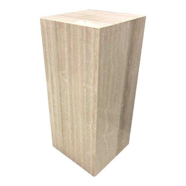 1970s Mid-Century Modern Italian Travertine Display Pedestal Column For Sale