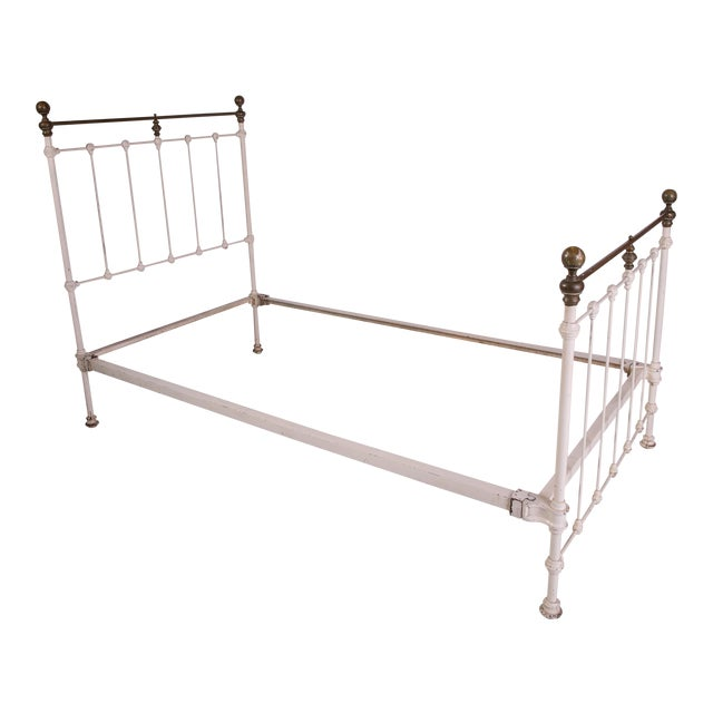 1910s Shabby Chic White Iron Victorian Bedframe For Sale