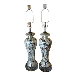 Vintage Chinoiserie Silver Mercury Glass Floral Lucite Chrome Table Lamps - a Pair For Sale