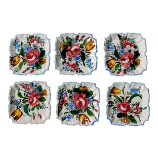 Italian Hand Painted Floral Dishes - Set of 6 For Sale