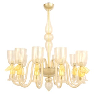 1940's Italian Gold-Dusted Murano Glass Chandelier Attributed to Seguso For Sale