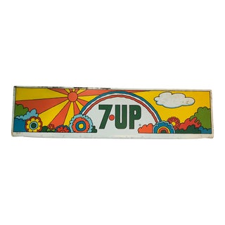 1970s Vintage Peter Max 7Up Metal Store Sign For Sale
