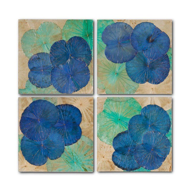 Contemporary Lotus Leaf Wall Art Set Of 4