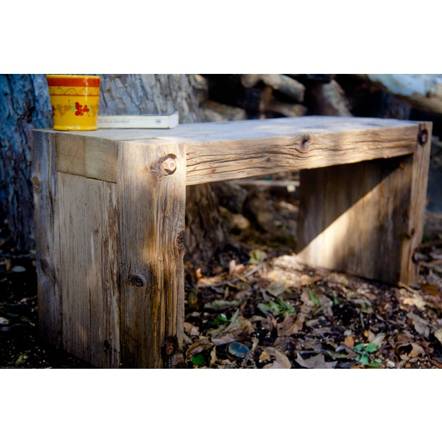 Reclaimed Wood Garden Loveseat Bench - Image 4 of 9