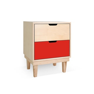 Kabano Modern Kids 2-Drawer Nightstand in Maple With Red Finish Preview