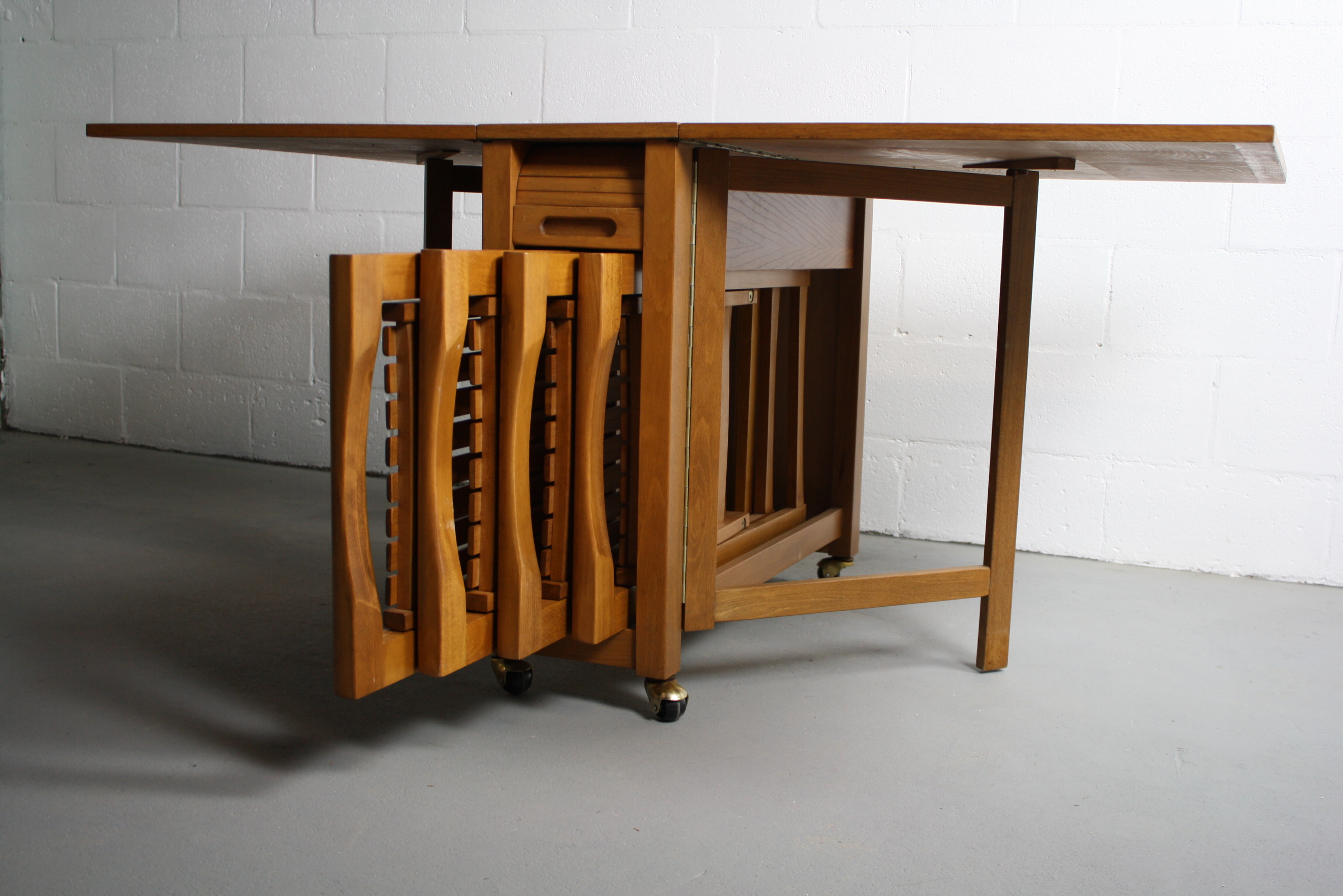 MidCentury Drop Leaf Hideaway Table With 4 Chairs Chairish