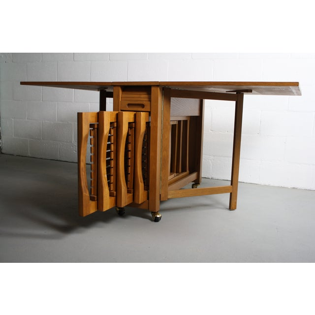 Mid-Century Drop Leaf Hideaway Table With 4 Chairs For Sale - Image 7 of 9