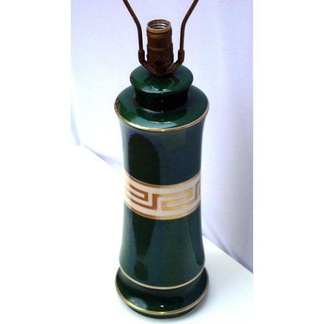 Antique Greek Key Green Gold White Ceramic Lamp - Image 7 of 11