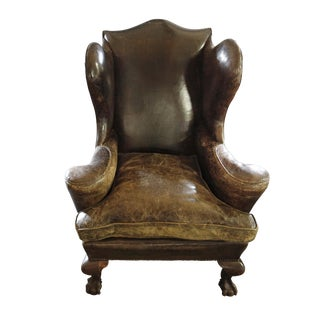 Wingback Leather Armchair For Sale
